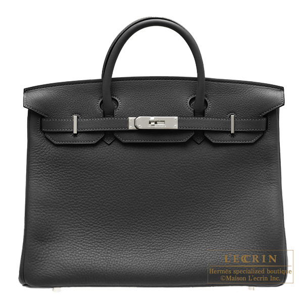 Hermes Birkin bag 40 Black Clemence leather Silver hardware