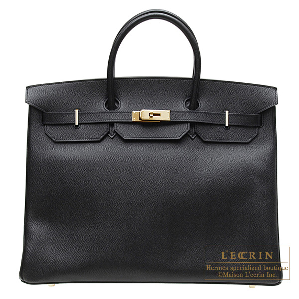 Hermes Birkin bag 40 Black Epsom leather Gold hardware