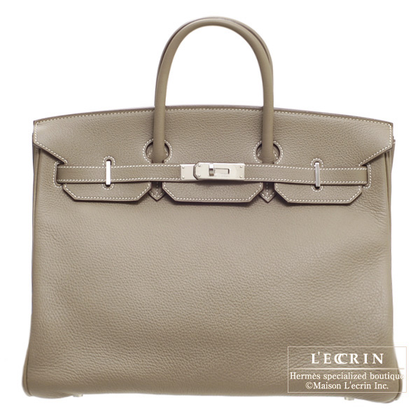 Hermes Birkin bag 40 Etoupe/Taupe grey Clemence leather Silver hardware