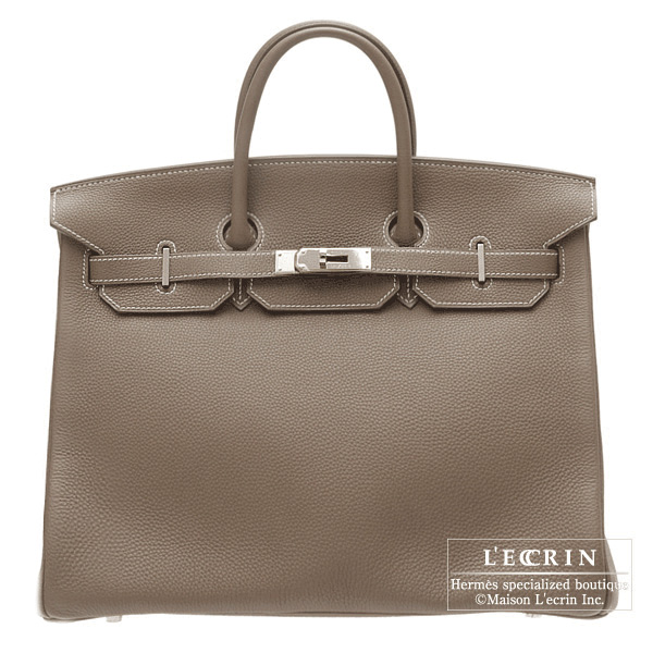 f5b9eb0f4e12 Hermes Birkin bag 40 Etoupe Taupe grey Togo leather Silver hardware