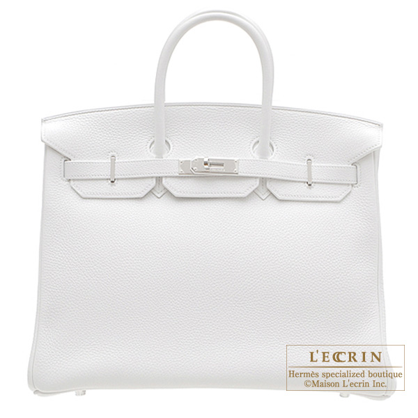 Hermes Birkin bag 40 White Clemence leather Silver hardware
