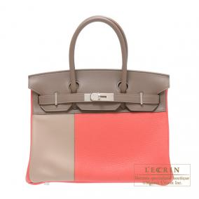 Hermes Birkin casaque bag 30 Indian pink/Taupe grey/Argile Clemence leather with swift leather Matt