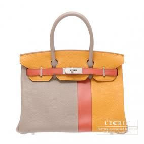 Hermes Birkin casaque bag 30 Mouse grey/Mustard yellow/Sanguine blood orange Clemence leather with s