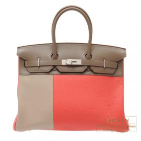 Hermes Birkin casaque bag 35 Indian pink/Taupe grey/Argile Clemence leather with swift leather Matt