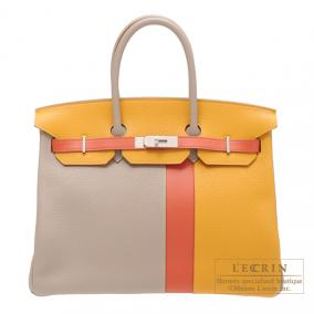 Hermes Birkin casaque bag 35 Mouse grey/Mustard yellow/Sanguine blood orange Clemence leather with s