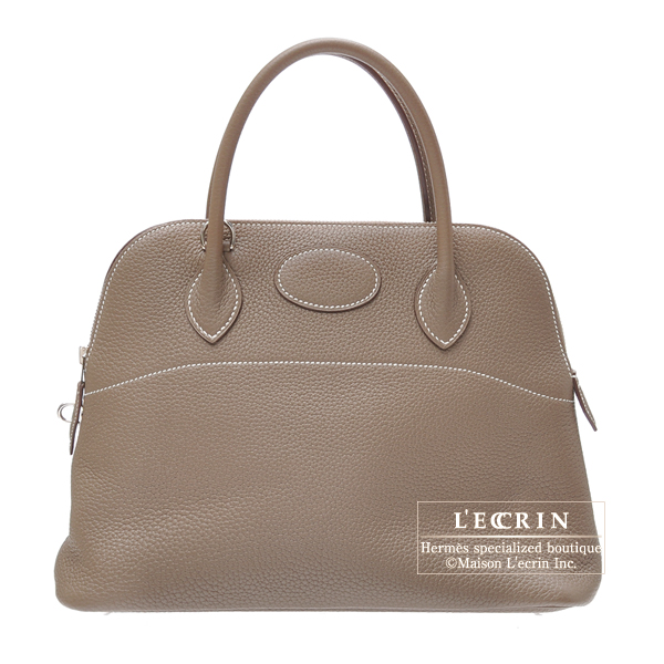 Hermes Lindy bag 30 Etoupe/Taupe grey Clemence leather Silver hardware