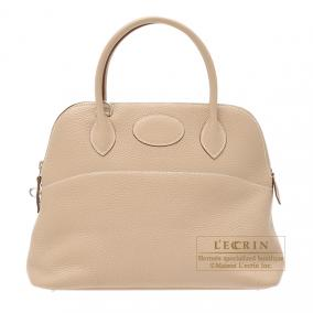 Hermes Bolide bag 31 Argile beige Clemence leather Silver hardware