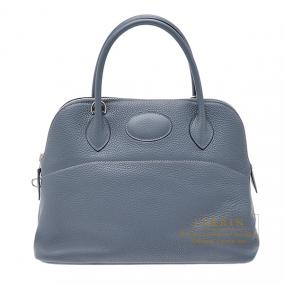 Hermes Bolide bag 31 Blue orage/Dark blue Clemence leather Silver hardware