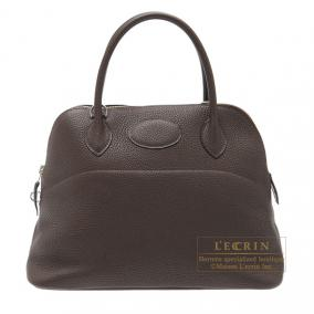 Hermes Bolide bag 31 Cafe/Coffee Clemence leather Silver hardware