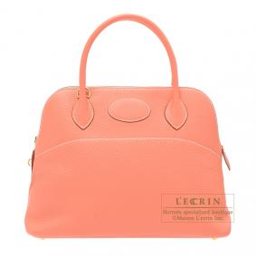 Hermes Bolide bag 31 Crevette/Crevette pink Clemence leather Gold hardware