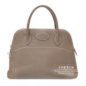 Hermes Bolide bag 31 Etoupe/Taupe grey Clemence leather Silver hardware