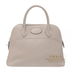 Hermes Bolide bag 31 Gris tourterelle/Mouse grey Clemence leather Silver hardware
