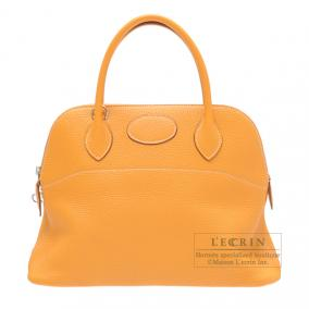 Hermes Bolide bag 31 Moutarde/Mustard yellow Clemence leather Silver hardware