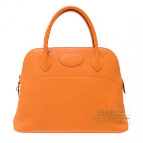 Hermes Bolide bag 31 Orange Clemence leather Silver hardware