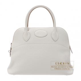 Hermes Bolide bag 31 Pearl Grey Clemence leather Silver hardware