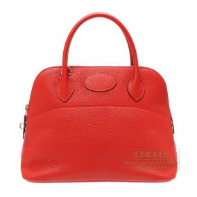 Hermes Bolide bag 31 Rouge casaque Clemence leather Silver hardware
