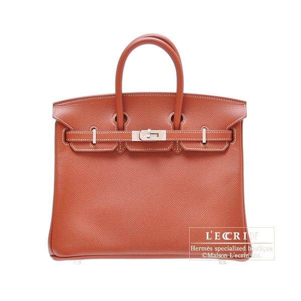 Hermes Candy Birkin bag 25Brique Epsom leatherSilver hardware