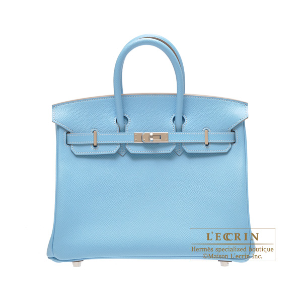 Hermes Candy Birkin bag 25 Celeste/Celeste blue Epsom leather Silver hardware