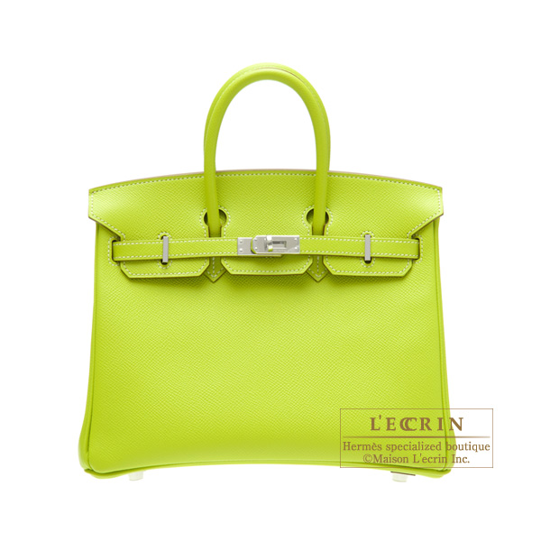 Hermes Candy Birkin bag 25 Kiwi/Kiwi green Epsom leather Silver hardware