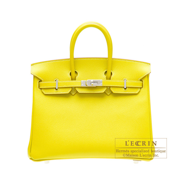 Hermes Candy Birkin bag 25 Lime/Lime yellow  Epsom leatherSilver hardware
