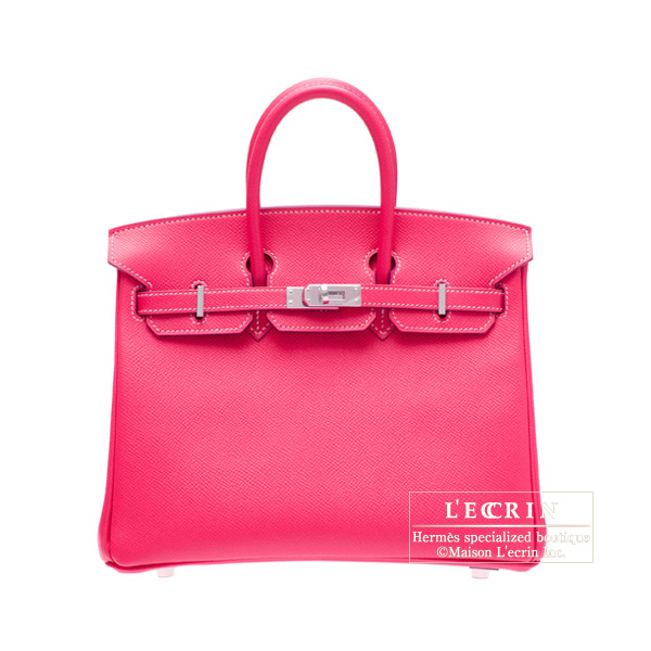 Hermes Candy Birkin bag 25Rose Tyrien/Hot pink Epsom leatherSilver hardware