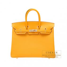 Hermes Candy Birkin bag 25 Jaune d\'or/Yellow gold Epsom leather Champagne Gold hardware