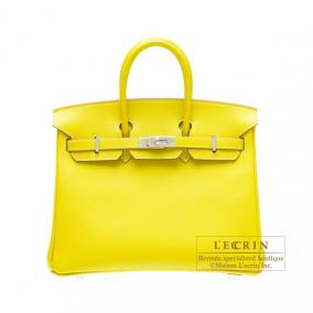 Hermes Candy Birkin bag 25 Lime/Lime yellow Epsom leather Silver hardware