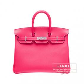 Hermes Candy Birkin bag 25 Rose Tyrien/Hot pink Epsom leather Silver hardware