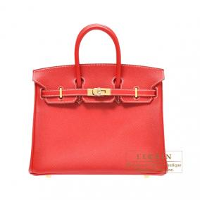Hermes Candy Birkin bag 25 Rouge casaque Epsom leather Champagne Gold hardware