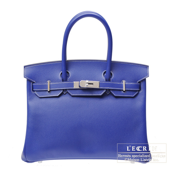 Hermes Candy Birkin bag 30 Blue Electric Epsom leather Silver hardware