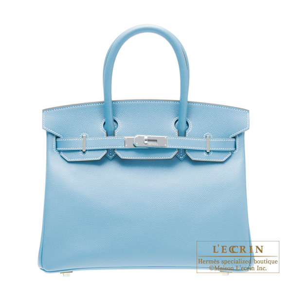 Hermes Candy Birkin bag 30 Celeste/Celeste blue Epsom leather Silver hardware