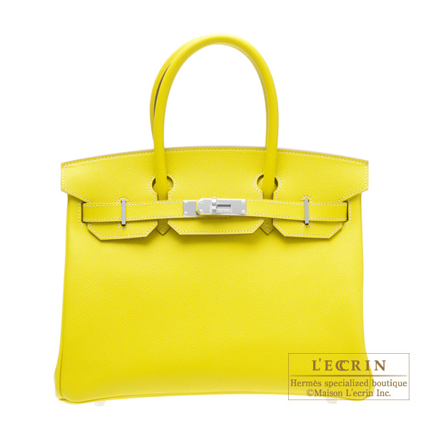 Hermes Candy Birkin bag 30Lime/Lime yellow  Epsom leatherSilver hardware