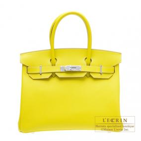 Hermes Candy Birkin bag 30 Lime/Lime yellow Epsom leather Silver hardware