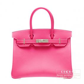 Hermes Candy Birkin bag 30 Rose Tyrien/Hot pink Epsom leather Silver hardware