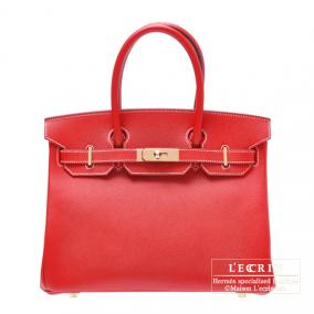 Hermes Candy Birkin bag 30 Rouge casaque Epsom leather Champagne Gold hardware