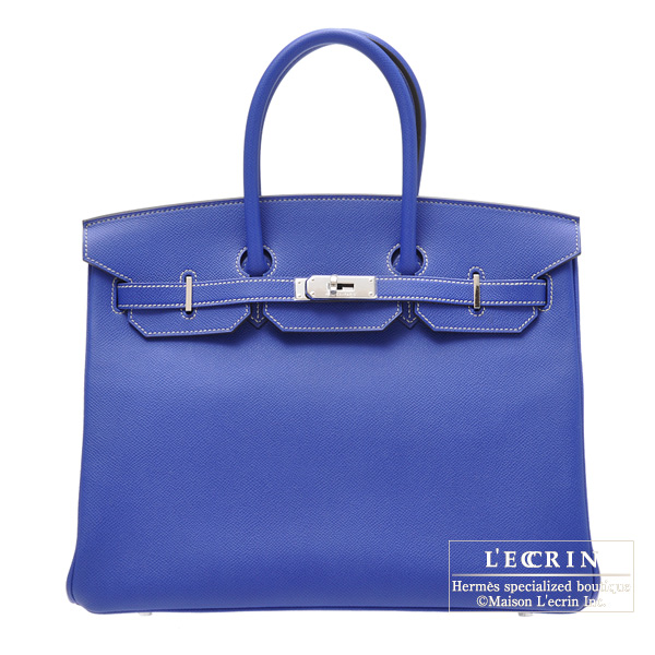 Hermes Candy Birkin bag 35 Blue Electric Epsom leatherSilver hardware