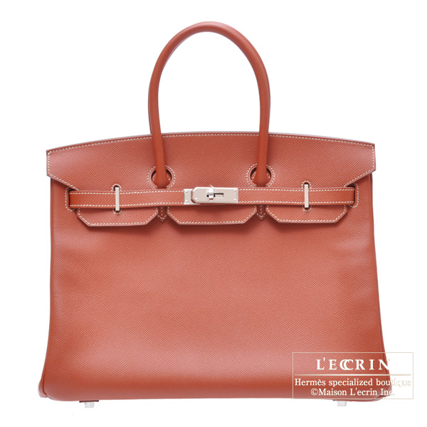 Hermes Candy Birkin bag 35 Brique Epsom leather Silver hardware