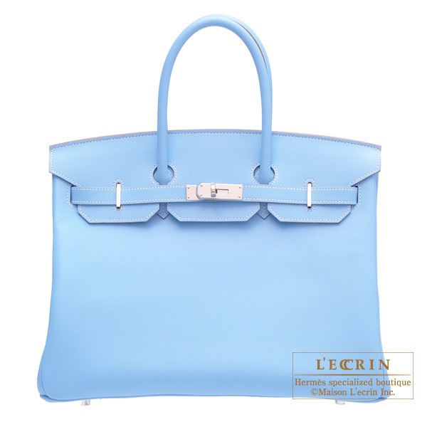 Hermes Candy Birkin bag 35 Celeste/Celeste blue Epsom leather Silver hardware