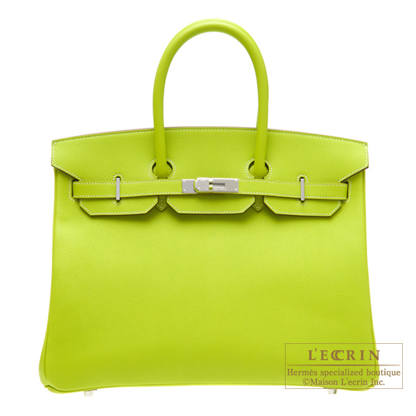 Hermes Candy Birkin bag 35 Kiwi/Kiwi green Epsom leather Silver hardware