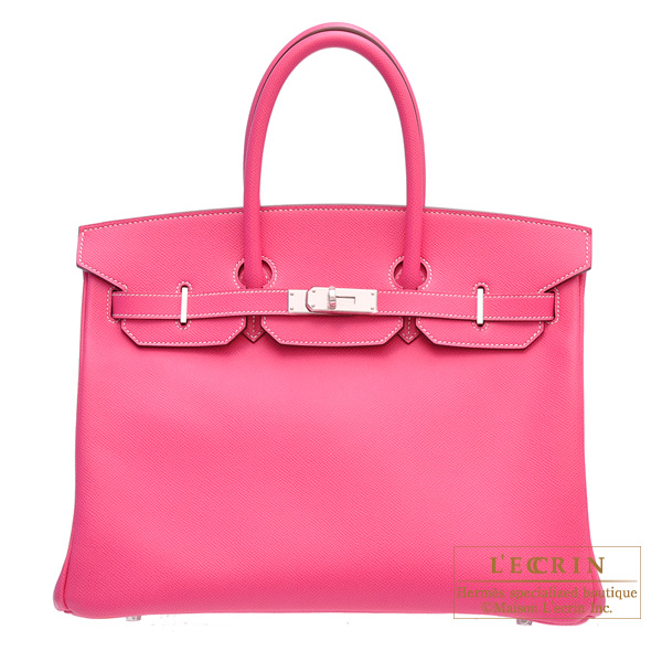 Hermes Candy Birkin bag 35 Rose Tyrien Epsom leather Silver hardware