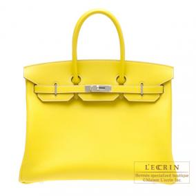 Hermes Candy Birkin bag 35 Lime/Lime yellow Epsom leather Silver hardware