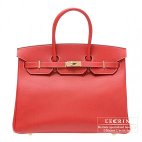 Hermes Candy Birkin bag 35 Rouge casaque Epsom leather Champagne Gold hardware