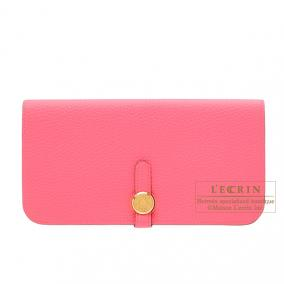 Hermes Dogon combined long wallet Rose lipstick Togo leather Gold hardware