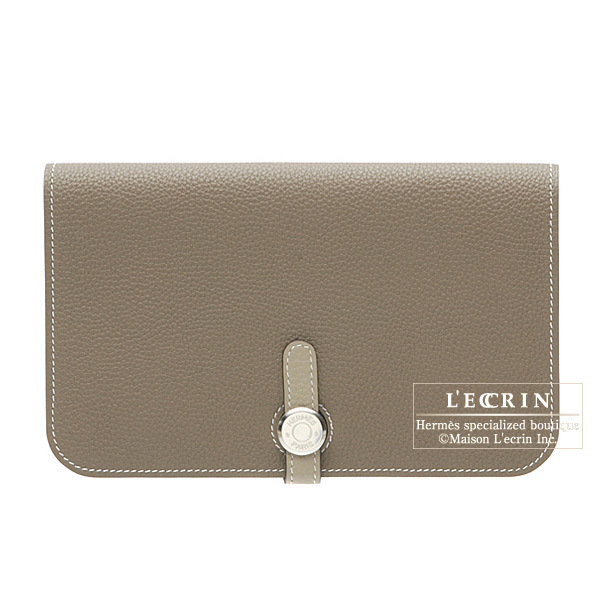 Hermes Dogon combined wallet GM Bi-color Taupe grey/Mouse grey Togo leather Silver hardware