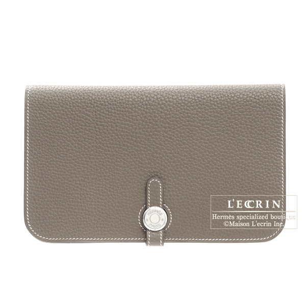 Hermes Dogon combined wallet GM Etoupe/Taupe grey Togo leather Silver hardware