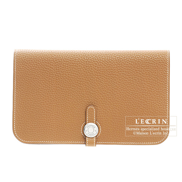 Hermes Dogon combined wallet GM Gold Togo leather Silver hardware