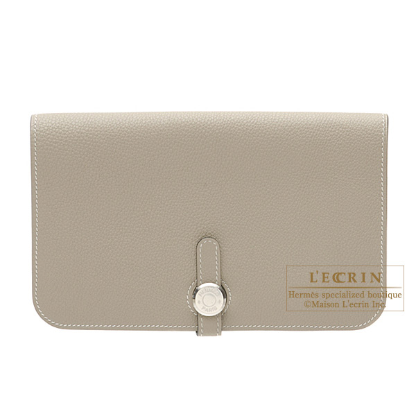 Hermes Dogon combined wallet GM Gris tourterelle/Mouse grey Togo leather Silver hardware