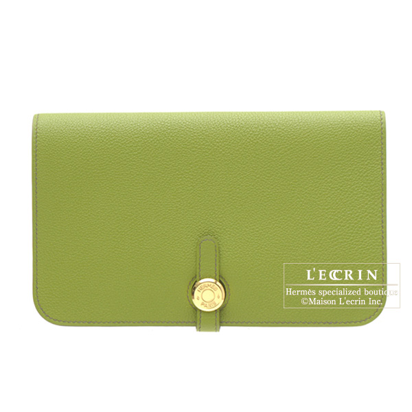 Hermes Dogon combined wallet GM Vert anis/Anis green Togo leather Gold hardware