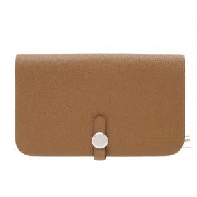 Hermes Dogon combined wallet GM Alezan/Chestnut brown Togo leather Silver hardware