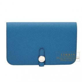 Hermes Dogon combined wallet GM Blue de galice Togo leather Silver hardware